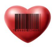 Hjärta med stångkod Fotografering för Bildbyråer