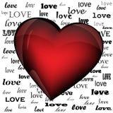 Hjärta på bakgrunden av ordförälskelsen Arkivbilder