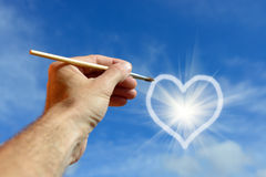 Hjärta på himlen Arkivfoton