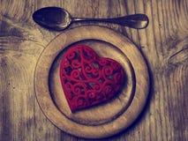 Hjärta på plattan Fotografering för Bildbyråer