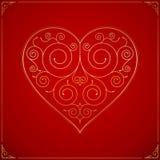Hjärta på röd bakgrund Royaltyfri Foto