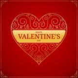 Hjärta på röd bakgrund Guld- förälskelse- eller brölloptecken Arkivfoto