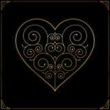 Hjärta på röd bakgrund Utsmyckad linje konstförälskelsesymbol Arkivbild