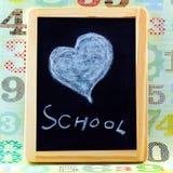 Hjärta på svart tavla Royaltyfri Foto