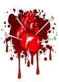 hjärta spikar trängt igenom Arkivbilder