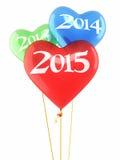 Hjärtaballonger 2015 för nytt år Arkivfoto