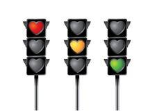 Hjärtatrafikljus Arkivbild