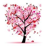 hjärtor blad förälskelsetreevalentinen Arkivfoton