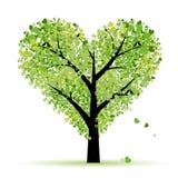 hjärtor blad förälskelsetreevalentinen Arkivbilder