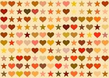 Hjärtor och stjärnabakgrund Feriesymbol Royaltyfria Bilder