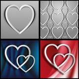 Hjärtorna som ut klipps från papper Royaltyfri Foto