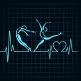 Hjärtslaget gör ett yogaflicka- och hjärtasymbol Arkivfoto