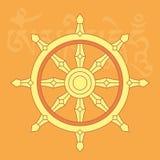 Hjul av dharma, ett av åtta buddistiska religiösa symboler Arkivbilder