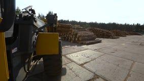 Hjul av ett rida bulldozerslut upp Bulldozer som transporterar journaler