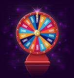 Hjul av förmögenhet med glödande lampor för online-kasinot, poker, roulett, enarmade banditer, kortspel realistiskt hjul 3d av Arkivfoton