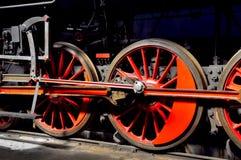 Hjul för ångalokomotiv Fotografering för Bildbyråer