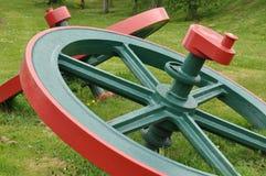 Hjul för block för ångamotor Royaltyfria Bilder
