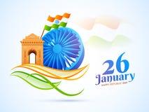 hjul för 3D Ashoka med India Gate och vinkande indisk flaggaillustrat royaltyfri illustrationer