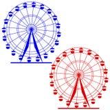 Hjul för ferris för konturatraktsion färgrikt royaltyfri illustrationer