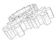 hjul för kugghjul 3d vektor stock illustrationer