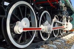 Hjul för Mikado ångalokomotiv Arkivbilder