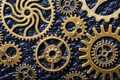 Hjul för Steampunk mekaniska kuggekugghjul på läderbakgrund Royaltyfri Foto