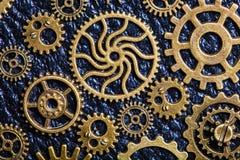 Hjul för Steampunk mekaniska kuggekugghjul på läderbakgrund Royaltyfri Bild