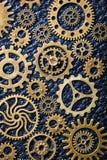 Hjul för Steampunk mekaniska kuggekugghjul på leathern bakgrund Royaltyfri Fotografi