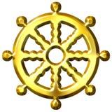 hjul för symbol för dharma för buddhism 3d guld- Arkivfoton