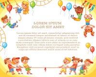 hjul för vektor för park för munterhetferrisnatt lekplats mall för annonseringsbroschyr royaltyfri illustrationer