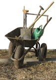 Hjul med isolerade objekt för trädgårdhjälpmedel royaltyfria foton
