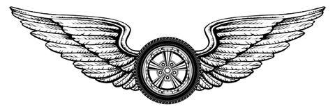 Hjul med vingar royaltyfri illustrationer