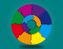 Hjul och pilar för tom färgrik information grafiskt Arkivfoto