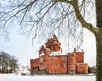 Hjularod Castle in the Snow Royalty Free Stock Image