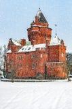 Hjularod Castle in the Snow Stock Image
