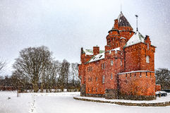 Hjularod-Schloss im Winter Stockfoto