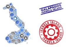 Hjulcollagevektor Isabela Island av Galapagos översikts- och Grungestämplar vektor illustrationer