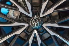 Hjulet av Toyota visade på den 3rd upplagan av MOTO-SHOWEN i Cracow Polen Royaltyfri Fotografi