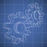 hjulet för kugghjulet 3D skissar Arkivbilder