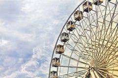 Hjulet karnevalet, festivalen, mässan, ritten, underhållning, ferie, gyckel, ferris, parkerar, nöjesfältet kopiera avstånd Royaltyfri Bild