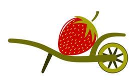 Hjulkärra och jordgubbe Arkivfoton