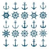 Hjulskeppet ankrar symbolen Styrninghjul fartyg och skeppankaren flotta och marinsymboler Vektorkonturer för logo vektor illustrationer