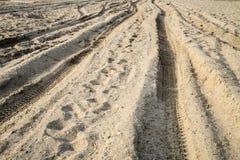 Hjulspår i sanden Arkivbild