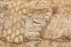 Hjulspår på den spruckna jordcloseupen royaltyfri bild