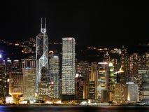 HK在维多利亚港口的夜场面 免版税库存图片