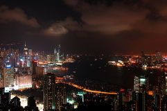 HK在维多利亚港口的夜场面 免版税库存照片