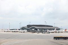 hk机场北部卫星广场 库存照片