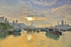 HK的看法地平线台风风雨棚的 免版税库存照片