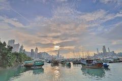 HK的看法地平线台风风雨棚的 图库摄影