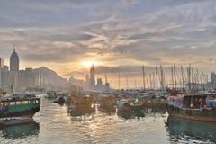 HK的看法地平线台风风雨棚的 库存照片